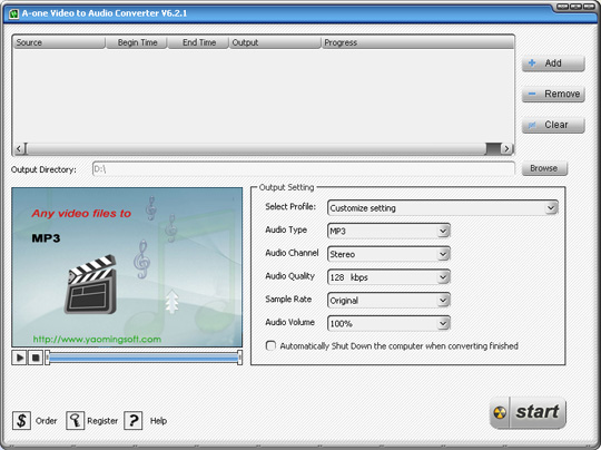 A-one Video to Audio Converter - convert RM to MP3, MPEG RM to MP3 converter