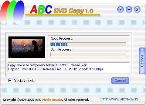 ABC DVD Copy is DVD cloning software to get duplicates of your favorite movies on DVD or hard drive with just a few clicks.