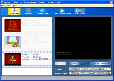 ANVSOFT Flash to PSP Converter is a powerful utility that convert Macromedia Flash SWF files to MPEG-4 files including movie clips, action scripts and audio in the Flash movies.