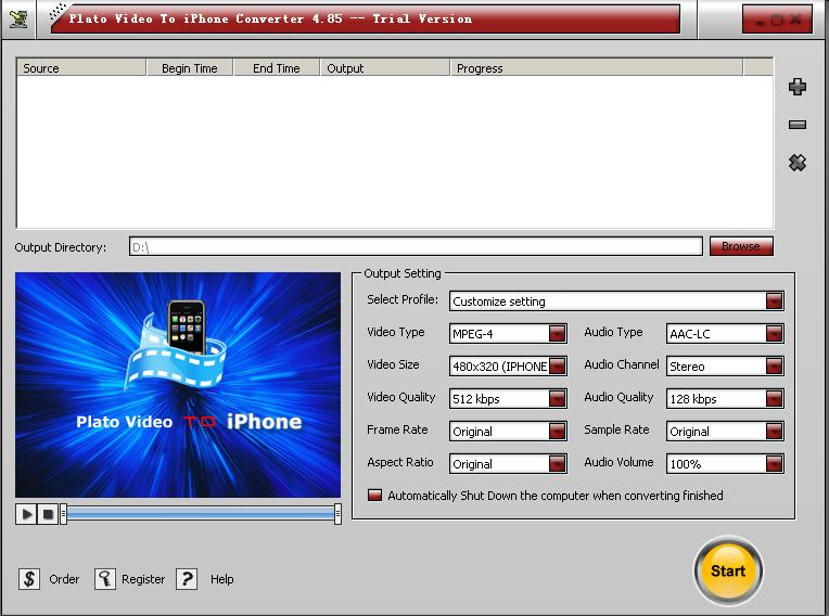 Plato Video to iPhone Converter , Convert avi to iphone, divx to iphone, mpeg to iphone, wmv to iphone, mov to iphone, rm to iphone, flv to iphone.