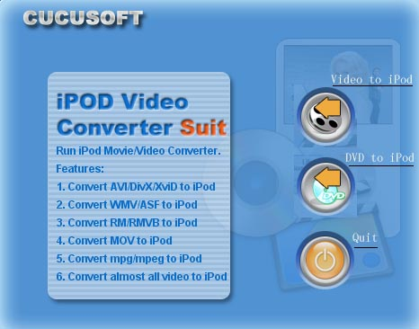 Cucusoft iPod Video Converter Suite is an all-in-one iPod video Conversion software.