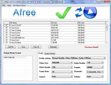 Afree AVI FLV MPEG MP4 ASF MOV to WMV Converter is professional, easy to use, and comprehensive video conversion software that makes it easy to convert popular video files to WMV video formats.